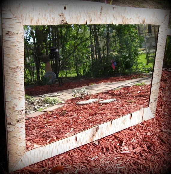 Rugged Birch Bark lined Home Decor Mirror