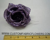 Prom Corsage Silk Fabric Flower Pin - Dyed Metallic Rose