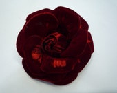 Red Velvet Rose Fabric Flower Pin / Brooch