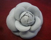 Classic White Leather Camellia Flower Pin