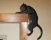 Handmade Intarsia black cat, animal art, wooden door topper Halloween home decor.