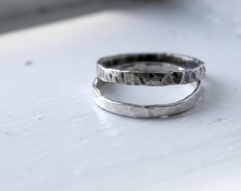 Sterling Silver Bands, Sterling Silver Firendship Rings, Two Toned Sterling Silver Stacking Rings