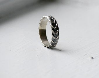 Unique Wedding band, sterling wide friendship ring, Handmade  Unisex Sterling Silver Fancy Band, Rustic Sterling Silver Ring, Size 7