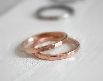 Shiny Copper Stacking Rings, Seamless Copper Bands/ sturdy copper rings, bohemian/simple wedding band, copper wedding band,