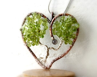 Mother and Child Jewelry, Mommy and Me, Sterling Silver and Copper Tree of Life Heart Shaped Pendant, August Birthstone, Valentines Love