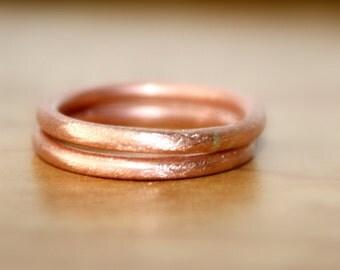 Handmade Pure Copper Rings, Brush Finish Round Copper Rings, Copper Rings, Earthy Copper Rings