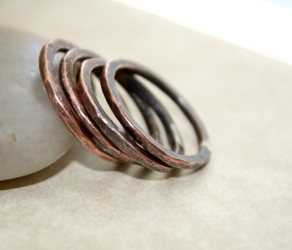 Stacking Copper Rings Rustic Pure Copper Rings Your By