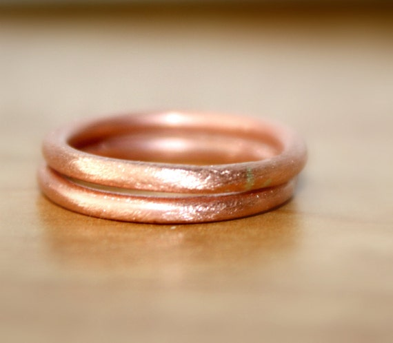Handmade Pure Copper Rings Brush Finish Round Copper Rings