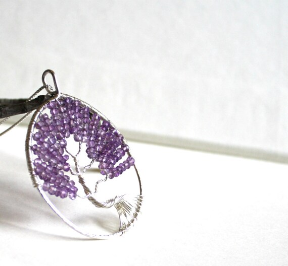 Amethyst Tree of Life Necklace, Amethyst Tree Pendant, Aquarius, February Birthstone, Purple, Lavender
