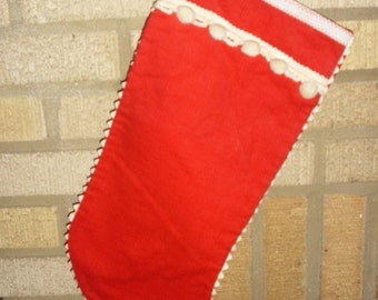 Vintage Red Corduroy Christmas Stocking