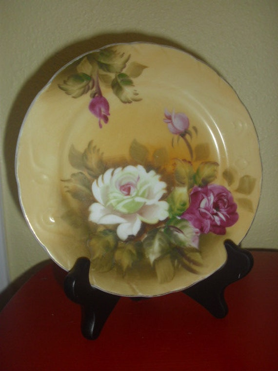 Lefton China Hand Painted Plate - Floral Roses