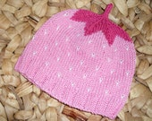 Fresh Fruit Baby Hat - Pink Strawberry  -  2-8 months -  pure cotton - ready to ship