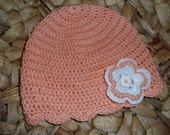 """Baby Summer Hat  """"Apricot with 3-layer-Blossom"""" - Newborn till 7 months - pure cotton - ready to ship"""