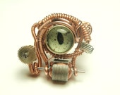 cyberpunk - steampunk wire ring - taxidermy eye reptile  - steampunk jewelry adjustable rings