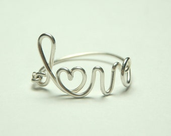 Love ring, love and heart wire ring, sterling silver ring, handmade ring,