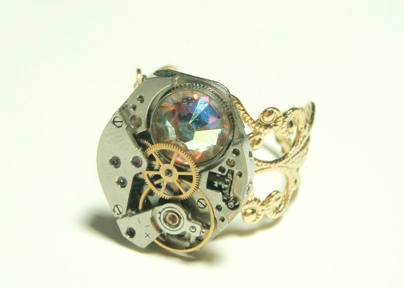 Steampunk swiss watch movement ring - swarovski rose aurore boreale crystal