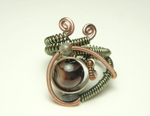 steampunk wire ring-  agate stone  - steampunk jewelry adjustable rings