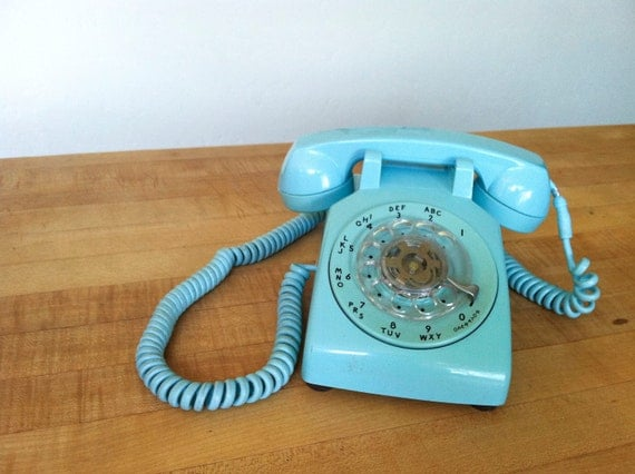 Vintage Turquoise Rotary Phone