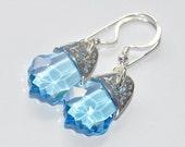 Aquamarine Swarovski Crystal Handmade Baroque Earrings with Sterling Silver Embellishments
