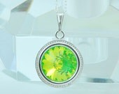 Sale - Swarovski Crystal Necklace, Round Pendant, Bright Green, Lime Green, Neon Green, Fluorescent, Sterling Silver