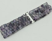 Fluorite Gemstone Beaded Bracelet, Peyote Chunky Bracelet, Woven, Shades of Purple