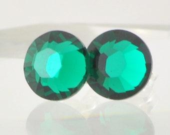 Emerald Green Stud Earrings, Swarovski Crystal Post Earrings, Sterling Silver, May Birthstone