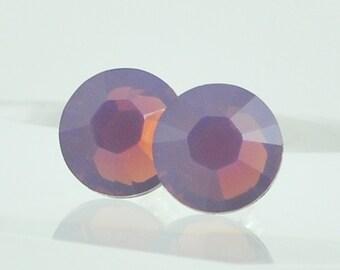 Purple Opal Swarovski Crystal Post Earrings - Sterling Silver Studs