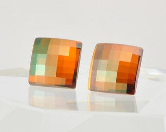 Copper Square Swarovski Crystal Post Earrings - Sterling Silver