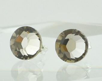 Greige Grey Handmade Swarovski Crystal Post Earrings, Sterling Silver Stud Earrings