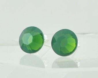 Handmade Palace Green Swarovski Crystal Post Earrings - Sterling Silver - Saint Patrick's Day