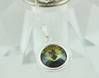 Swarovski Round Briolette Necklace, Swarovski Crystal Pendant, Sterling Silver, Tabac Color in Gold, Green & Blue