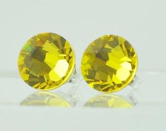 Swarovski Crystal Fashion Post Earrings, Sterling Silver Studs, Handmade, Citrine Yellow, Bright Yellow, Fall Autumn Jewelry