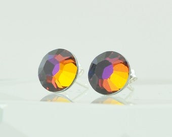 Crystal Stud Earrings, Swarovski Crystal, Sterling Silver Posts, Fashion Jewelry, Volcano Color, Hues of Amethyst Purple, Topaz and Fuchsia