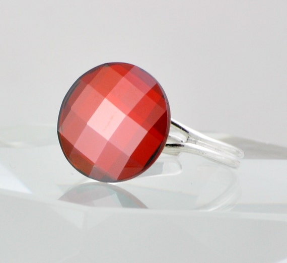 Red Swarovski Crystal Ring, Round Cocktail Ring, Red Magma, Sterling Silver - Size 8 - 10 Adjustable Band
