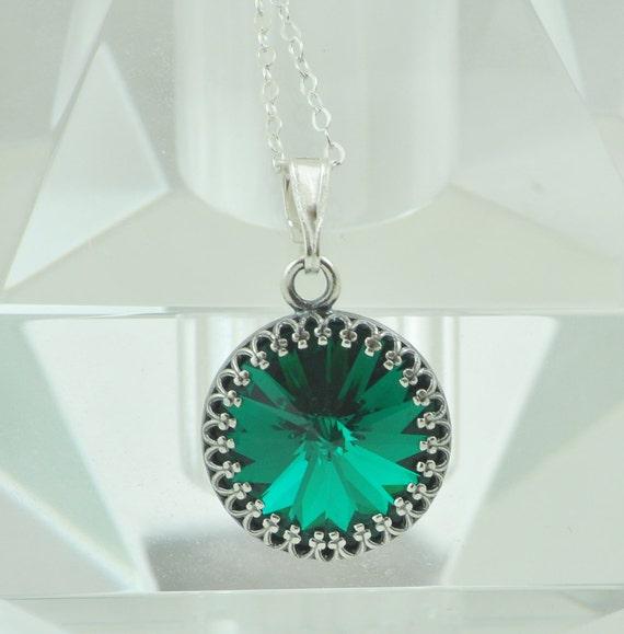 Victorian Necklace, Swarovski Crystal Necklace, Sterling Silver, Emerald Green