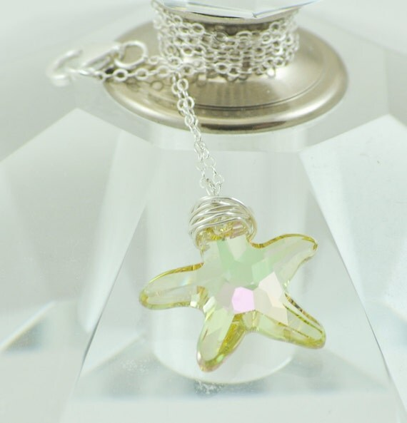 Beach and Ocean Themed Necklace, Swarovski Crystal, Faceted Pendant, Starfish Necklace, Sterling Silver, Hand Wrapped, Luminous Green