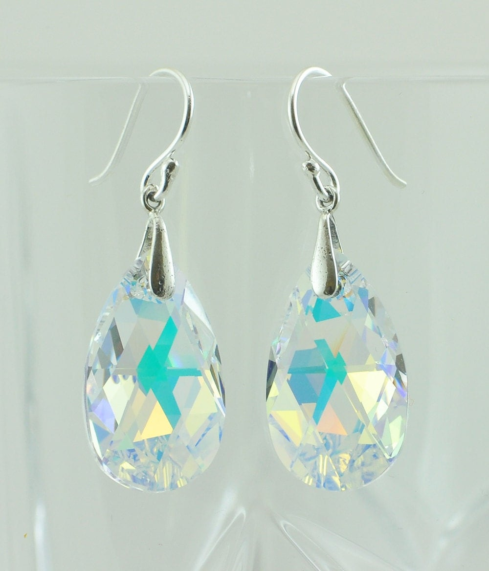 aurora borealis swarovski crystal teardrop earrings crystal