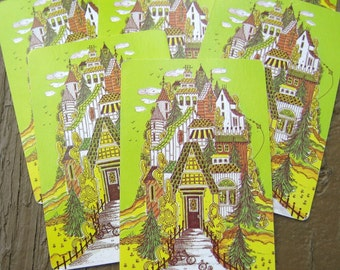 6 Whimsical House Playing Cards