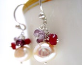 Pearl, Ruby, Tundra Sapphire, Moonstone Earrnings with Sterling Silver by dirtyrice on etsy