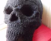 Human Skull Pillow 3D Black