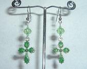 Irish Green leaf celtic cross pierced earrings Swarovski 8mm rondelle crystals
