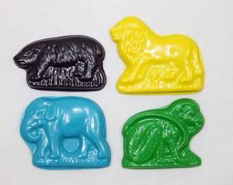 8 animal cracker crayons - in cello bag tied with ribbon