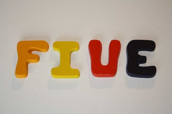 Letter crayon - five (5) - assorted colors
