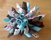 Turquoise Flower Child Korker Bow