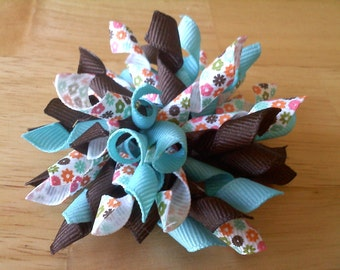 Turquoise Flower Child Korker Bow
