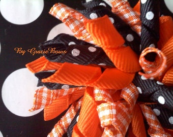 Korker Hair Bow- Orange and Black Halloween