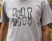 Beer Glass Types Mens Tshirt Size XL // Mens Fashion