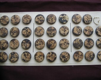 Antique Vegetable Ivory Buttons...unusual marbleized  pattern...new old stock...1890..lot of 35