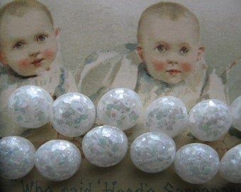 Lot of 10  Tiny Vintage Buttons..white lucite with mica glitter...new old stock...looks like snow