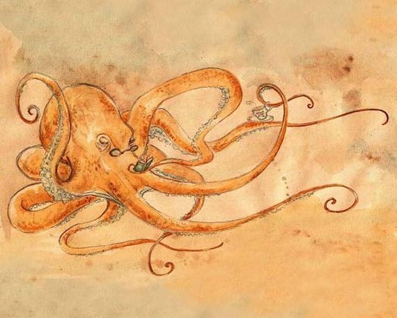 Octopus Drinking Tea - 8 x 10 inch print